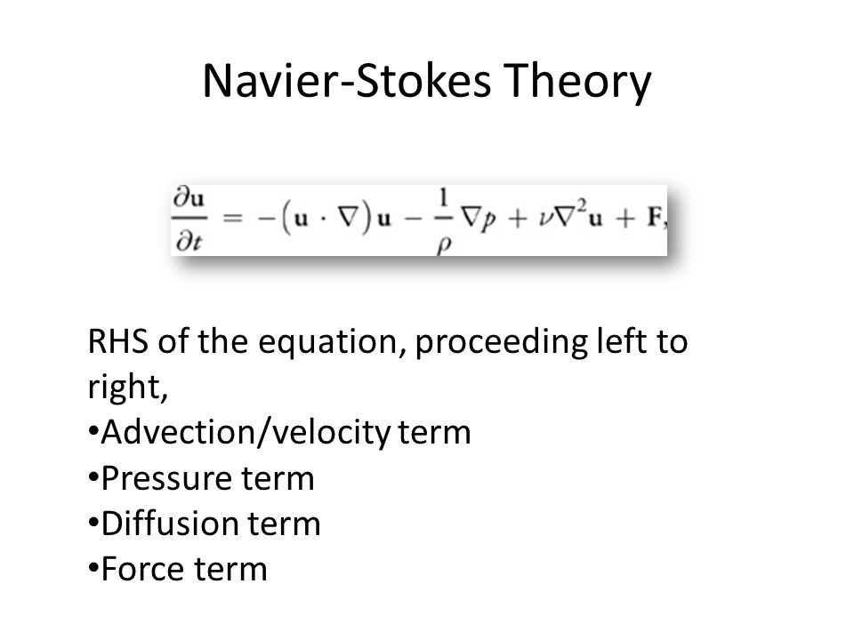 Navier-Stokes Theory RHS of the equation, proceeding left to right, Advection/velocity term Pressure term Diffusion term Force term