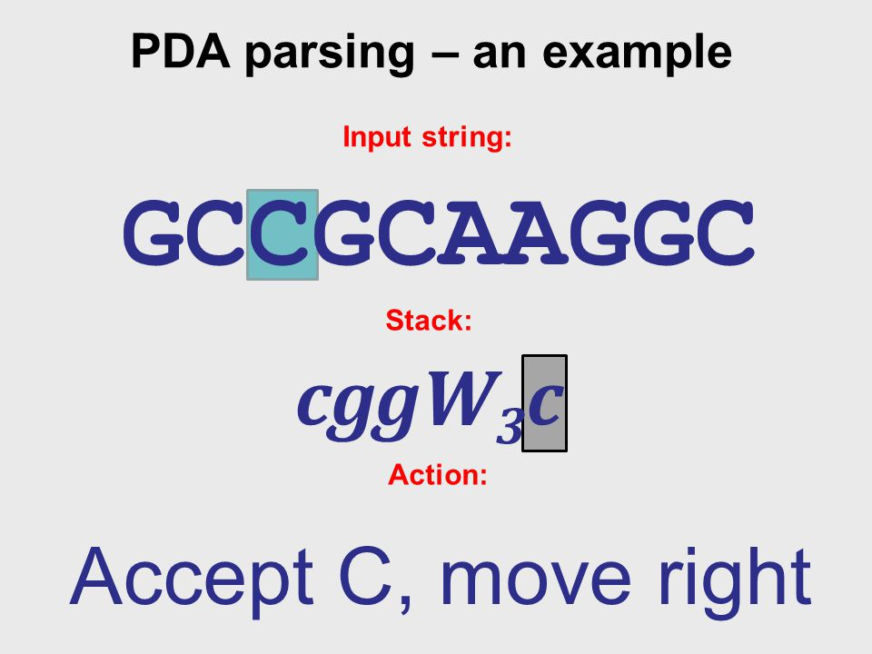 PDA parsing – an example Input string: GCCGCAAGGC Stack: cggW 3 c Action: Accept C, move right