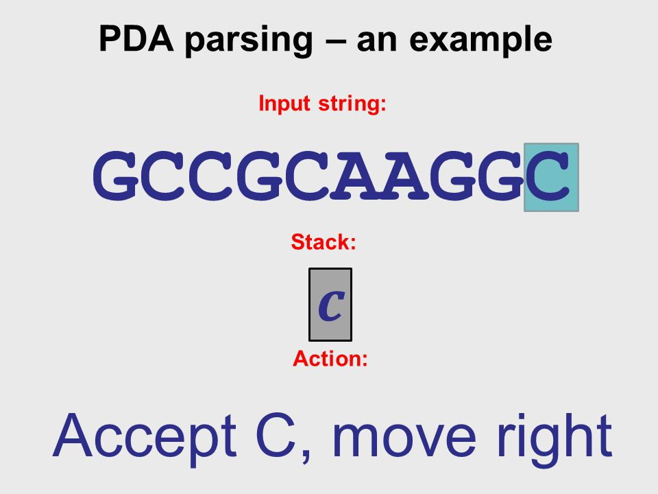 PDA parsing – an example Input string: GCCGCAAGGC Stack: c Action: Accept C, move right