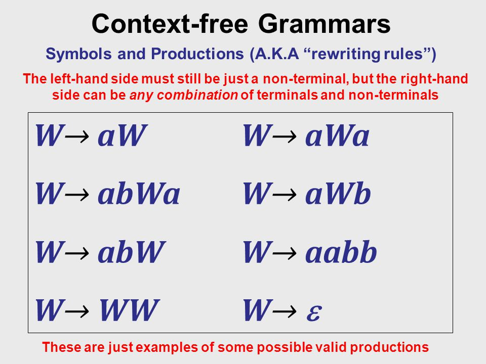 """Context-free Grammars Symbols and Productions (A.K.A """"rewriting rules"""") The left-hand side must still be just a non-terminal, but the right-hand side"""