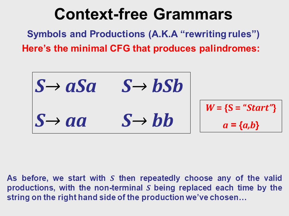 """Context-free Grammars Symbols and Productions (A.K.A """"rewriting rules"""") W = {S = """"Start""""} a = { a,b } S→ aSaS→ bSb S→ aaS→ bb As before, we start with"""