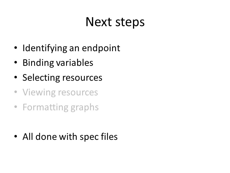 Next steps Identifying an endpoint Binding variables Selecting resources Viewing resources Formatting graphs All done with spec files