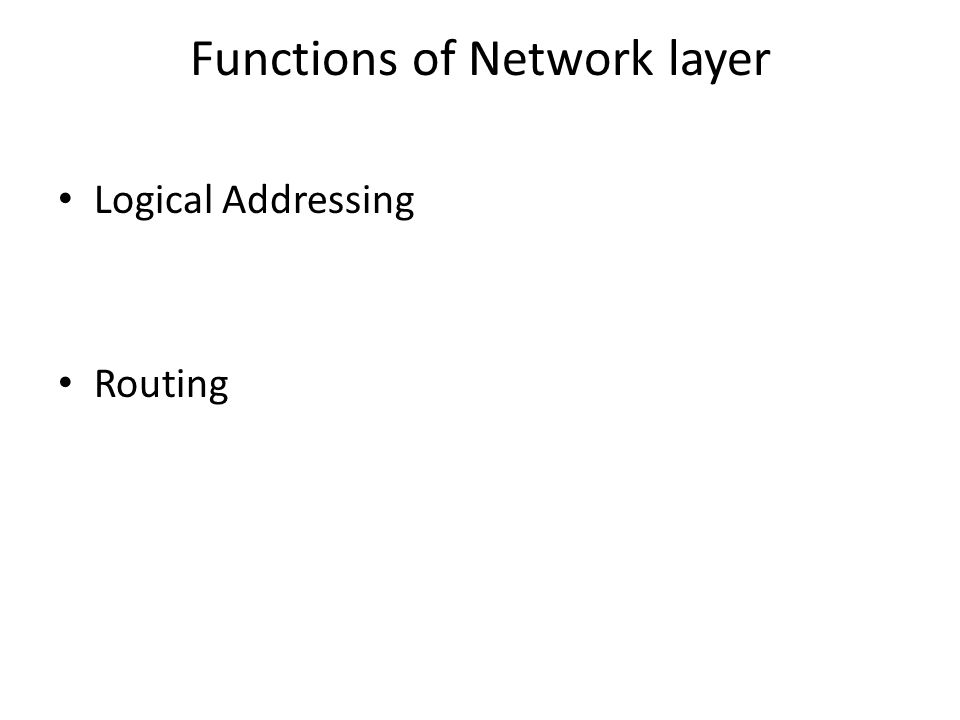 Functions of Network layer Logical Addressing Routing