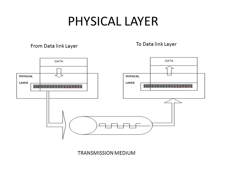 PHYSICAL LAYER TRANSMISSION MEDIUM From Data link Layer To Data link Layer