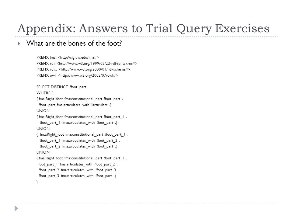 Appendix: Answers to Trial Query Exercises  What are the bones of the foot.