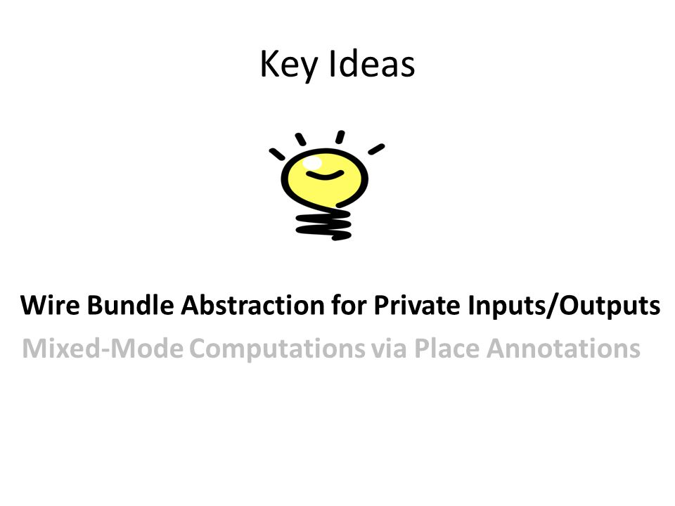 Key Ideas Wire Bundle Abstraction for Private Inputs/Outputs Mixed-Mode Computations via Place Annotations