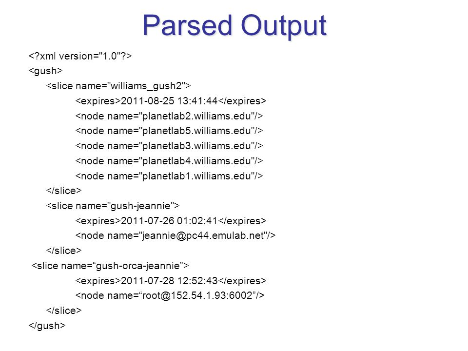 Parsed Output 2011-08-25 13:41:44 2011-07-26 01:02:41 2011-07-28 12:52:43