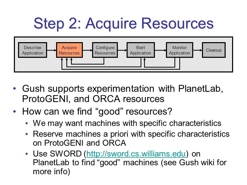 Step 2: Acquire Resources Gush supports experimentation with PlanetLab, ProtoGENI, and ORCA resources How can we find good resources.