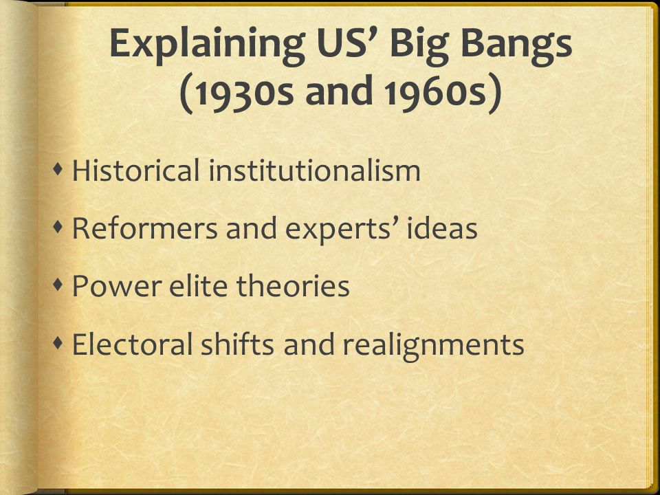 Explaining US' Big Bangs (1930s and 1960s)  Historical institutionalism  Reformers and experts' ideas  Power elite theories  Electoral shifts and realignments