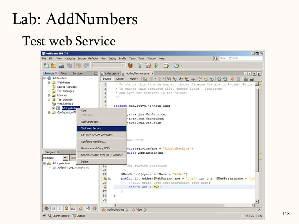 113 Test web Service Lab: AddNumbers