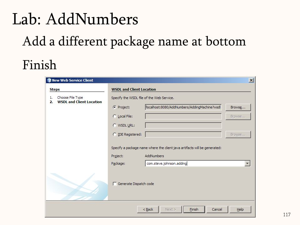 117 Add a different package name at bottom Finish Lab: AddNumbers