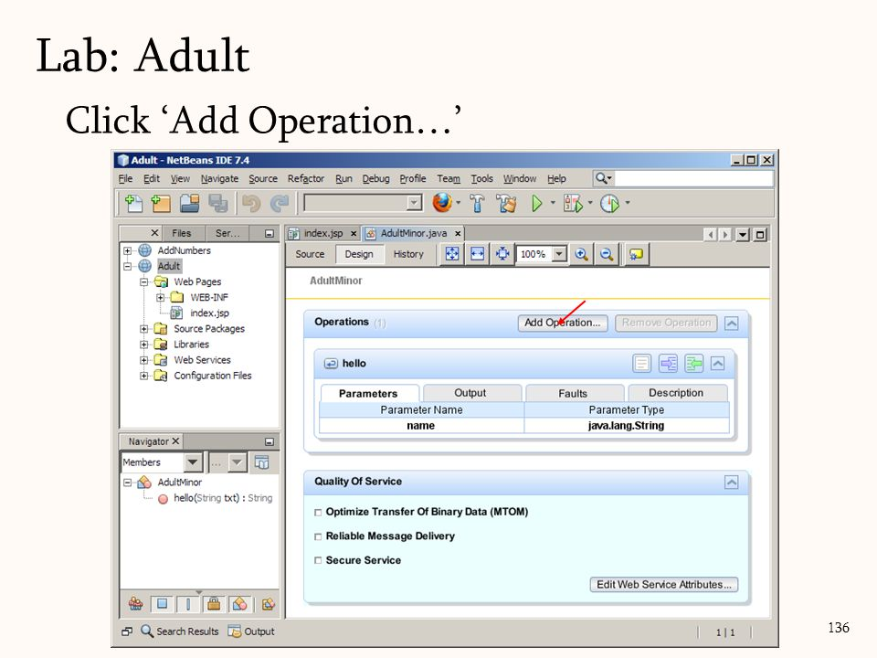 136 Click 'Add Operation…' Lab: Adult