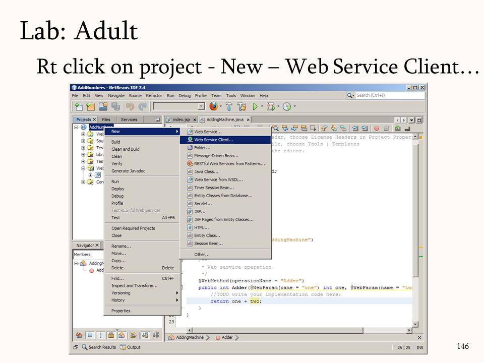 146 Rt click on project - New – Web Service Client… Lab: Adult