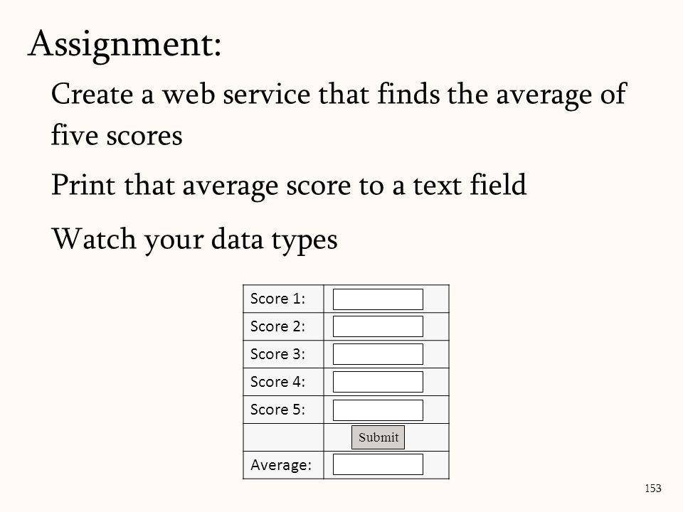Create a web service that finds the average of five scores Print that average score to a text field Watch your data types Assignment: 153 Score 1: Score 2: Score 3: Score 4: Score 5: Average: Submit