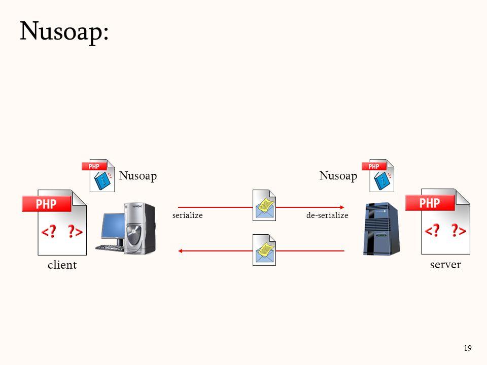 Nusoap: 19 server Nusoap client Nusoap serialize de-serialize