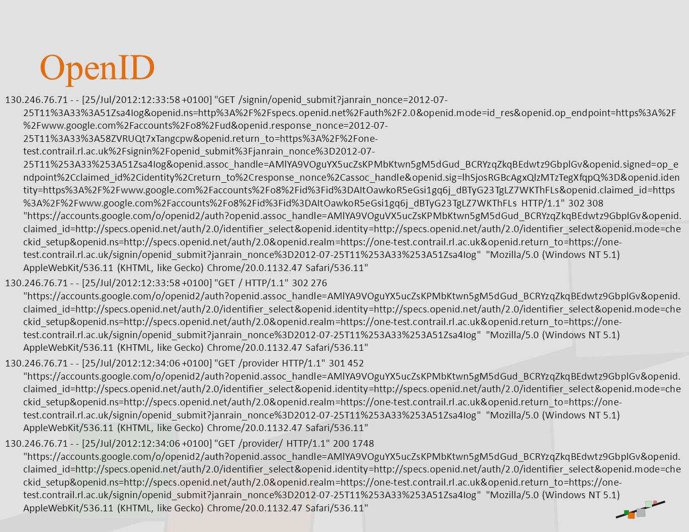 OpenID 130.246.76.71 - - [25/Jul/2012:12:33:58 +0100]