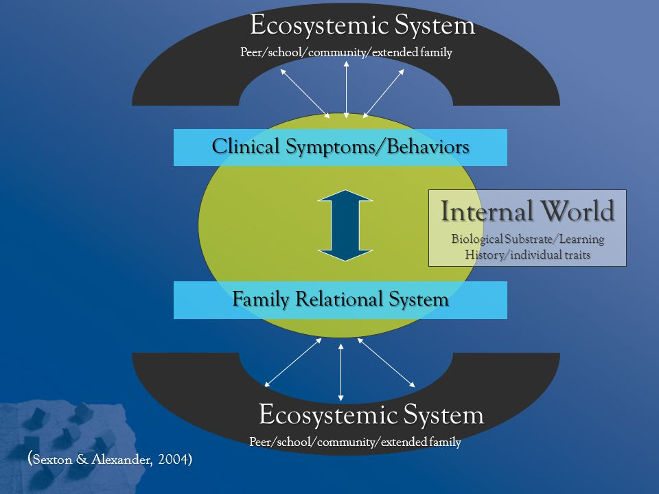 Internal World Biological Substrate/Learning History/individual traits Clinical Symptoms/Behaviors Family Relational System Ecosystemic System Peer/school/community/extended family Ecosystemic System Peer/school/community/extended family ( Sexton & Alexander, 2004)