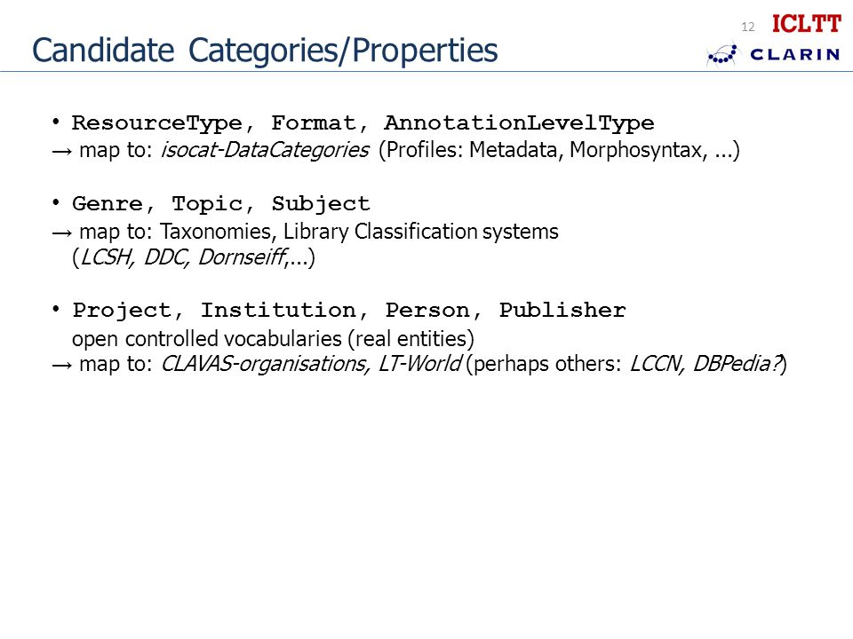 12 Candidate Categories/Properties ResourceType, Format, AnnotationLevelType → map to: isocat-DataCategories (Profiles: Metadata, Morphosyntax,...) Genre, Topic, Subject → map to: Taxonomies, Library Classification systems (LCSH, DDC, Dornseiff,...) Project, Institution, Person, Publisher open controlled vocabularies (real entities) → map to: CLAVAS-organisations, LT-World (perhaps others: LCCN, DBPedia )
