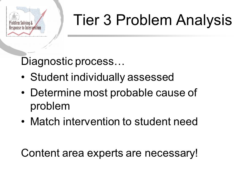 Tier 3 Problem Analysis Diagnostic process… Student individually assessed Determine most probable cause of problem Match intervention to student need Content area experts are necessary!