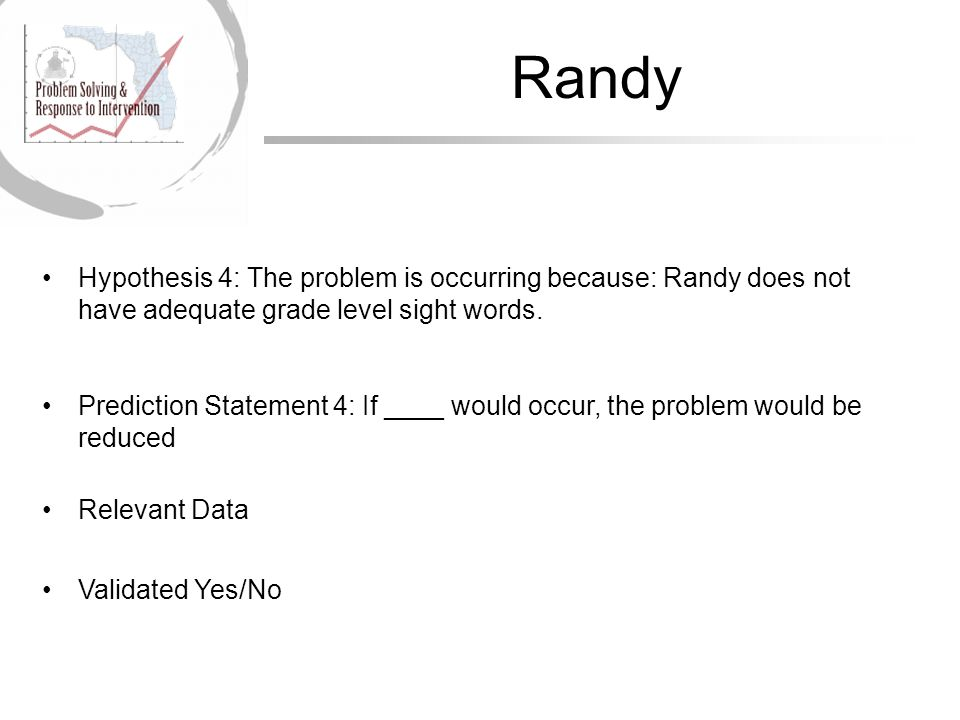 Randy Hypothesis 4: The problem is occurring because: Randy does not have adequate grade level sight words.