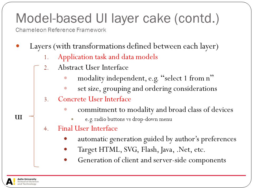 Model-based UI layer cake (contd.) Chameleon Reference Framework Layers (with transformations defined between each layer) 1.