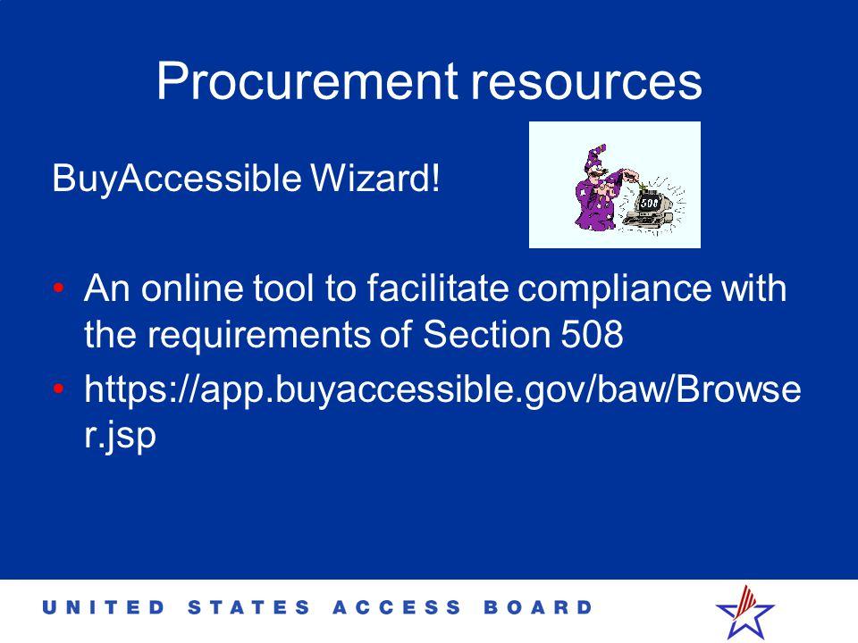 Procurement resources BuyAccessible Wizard.