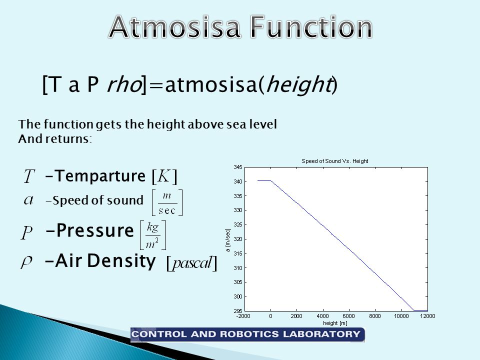 [T a P rho]=atmosisa(height) -Speed of sound -Air Density -Pressure -Temparture The function gets the height above sea level And returns: