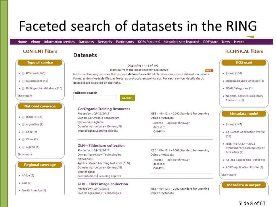 Slide 8 of 63 Faceted search of datasets in the RING