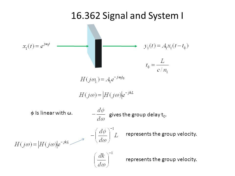 16.362 Signal and System I  Is linear with . gives the group delay t 0. represents the group velocity.