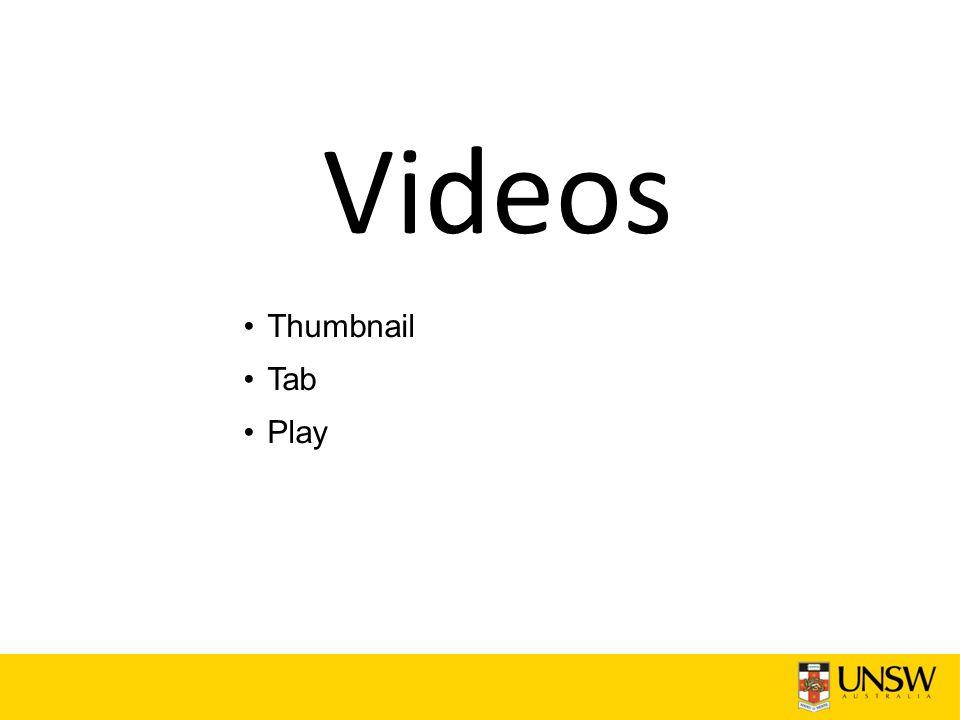 Videos Thumbnail Tab Play