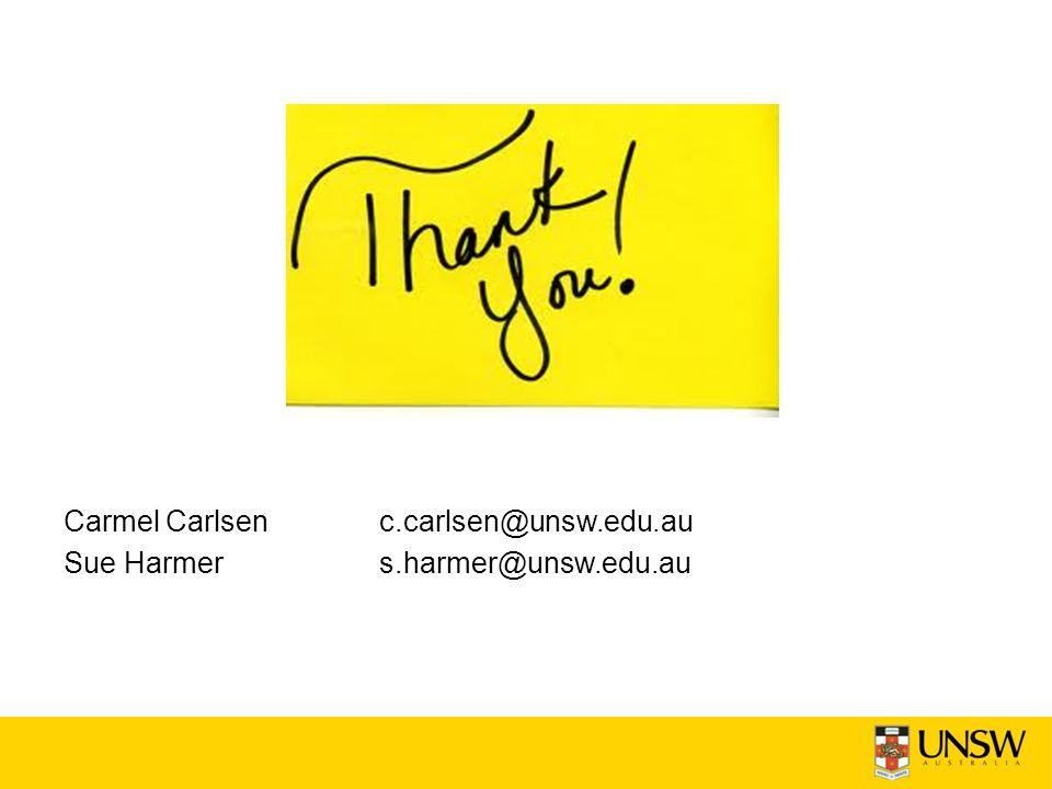 Carmel Carlsenc.carlsen@unsw.edu.au Sue Harmers.harmer@unsw.edu.au