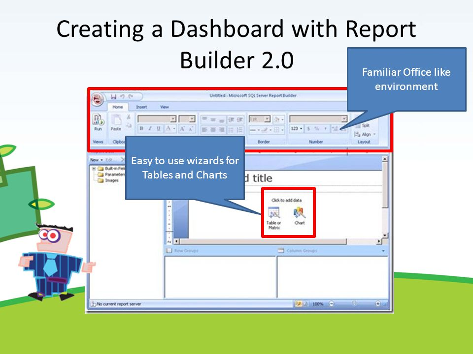 Creating a Dashboard with Report Builder 2.0 Familiar Office like environment Easy to use wizards for Tables and Charts