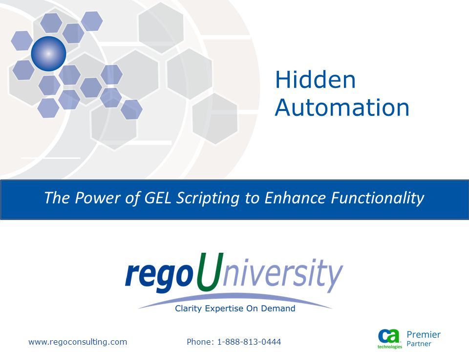 www.regoconsulting.comPhone: 1-888-813-0444 The Power of GEL Scripting to Enhance Functionality Hidden Automation