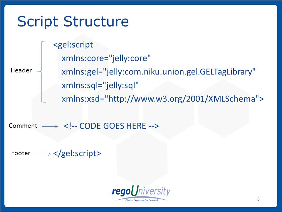 www.regoconsulting.comPhone: 1-888-813-0444 6 A GEL script is an executable XML file that is built from qualified elements bound to Java code called tags.