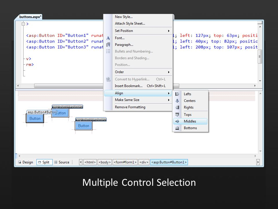 Multiple Control Selection