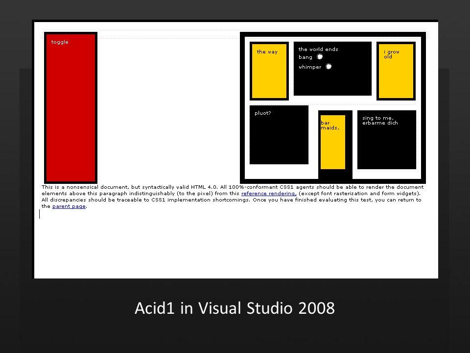 Acid1 in Visual Studio 2008