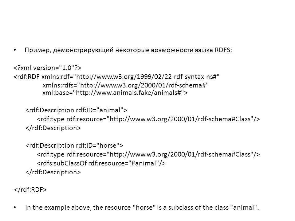 Сокращенный пример Так как класс RDFS (class) является RDF ресурсом, то можно предыдущий пример описать в более краткой форме – используя rdfs:Class вместо rdf:Description и – опустив элемент rdf:type : <rdf:RDF xmlns:rdf= http://www.w3.org/1999/02/22-rdf-syntax-ns# xmlns:rdfs= http://www.w3.org/2000/01/rdf-schema# xml:base= http://www.animals.fake/animals# >