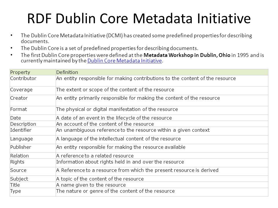 RDF Dublin Core Metadata Initiative The Dublin Core Metadata Initiative (DCMI) has created some predefined properties for describing documents.