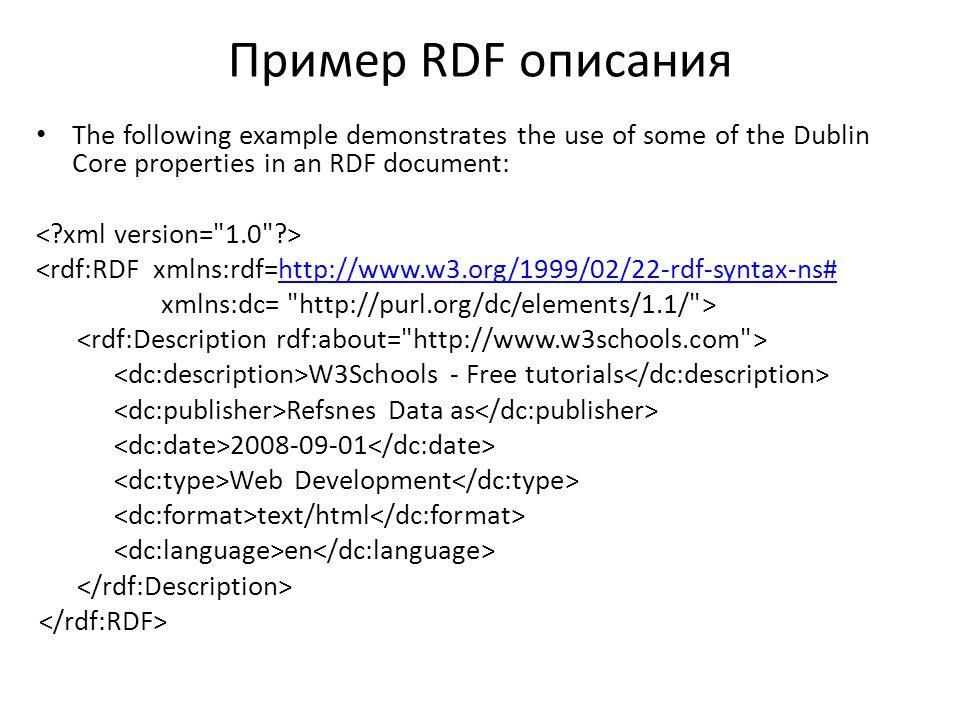 Пример RDF описания The following example demonstrates the use of some of the Dublin Core properties in an RDF document: <rdf:RDF xmlns:rdf=http://www.w3.org/1999/02/22-rdf-syntax-ns#http://www.w3.org/1999/02/22-rdf-syntax-ns# xmlns:dc= http://purl.org/dc/elements/1.1/ > W3Schools - Free tutorials Refsnes Data as 2008-09-01 Web Development text/html en