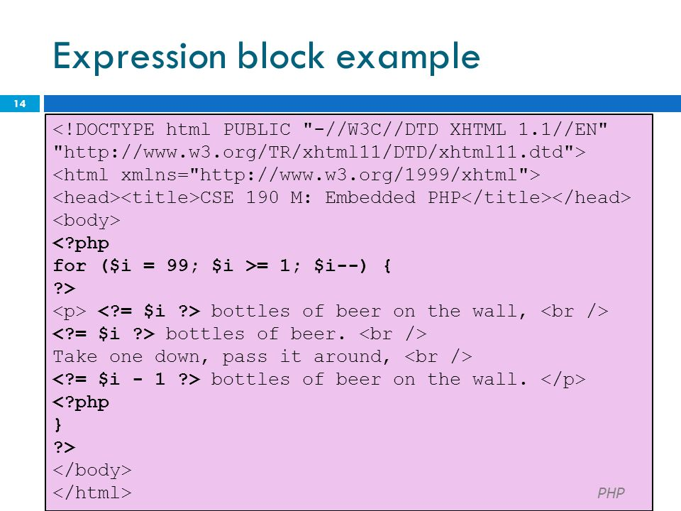 Expression block example 14 <!DOCTYPE html PUBLIC