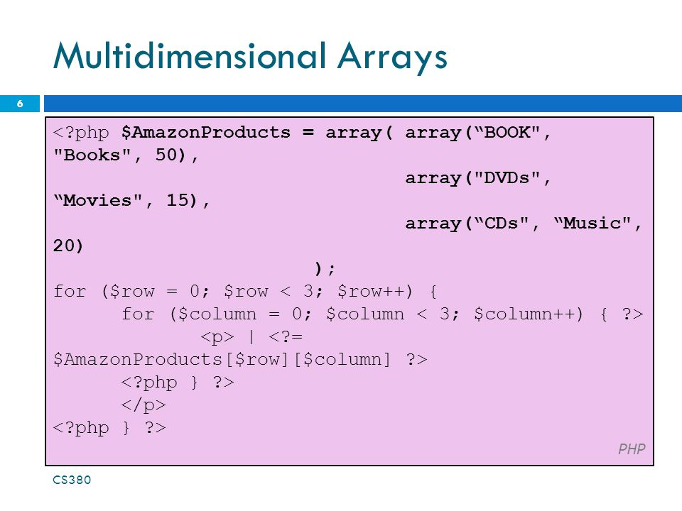 "Multidimensional Arrays 6 <?php $AmazonProducts = array( array(""BOOK"
