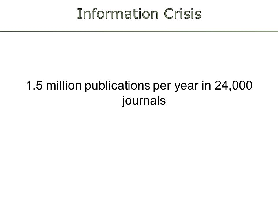 1.5 million publications per year in 24,000 journals