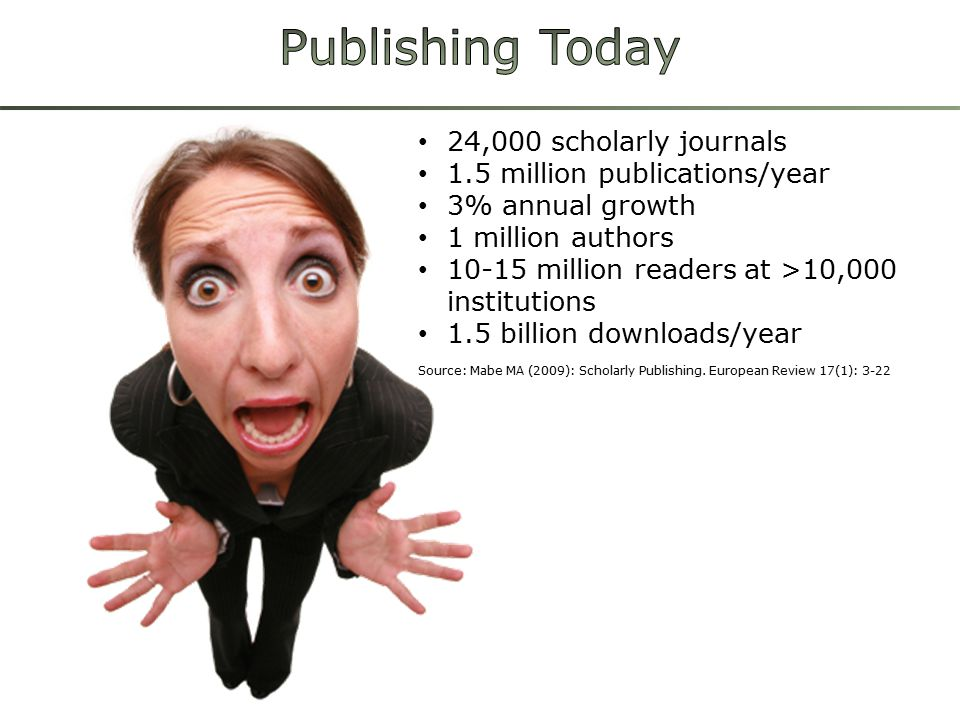 24,000 scholarly journals 1.5 million publications/year 3% annual growth 1 million authors 10-15 million readers at >10,000 institutions 1.5 billion downloads/year Source: Mabe MA (2009): Scholarly Publishing.
