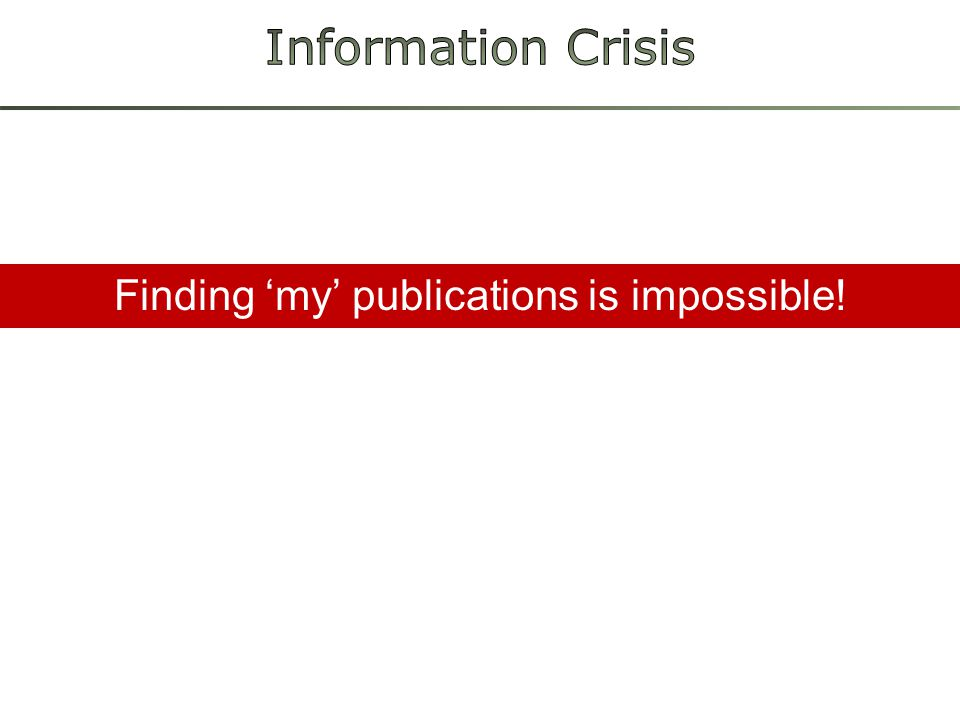 Finding 'my' publications is impossible!