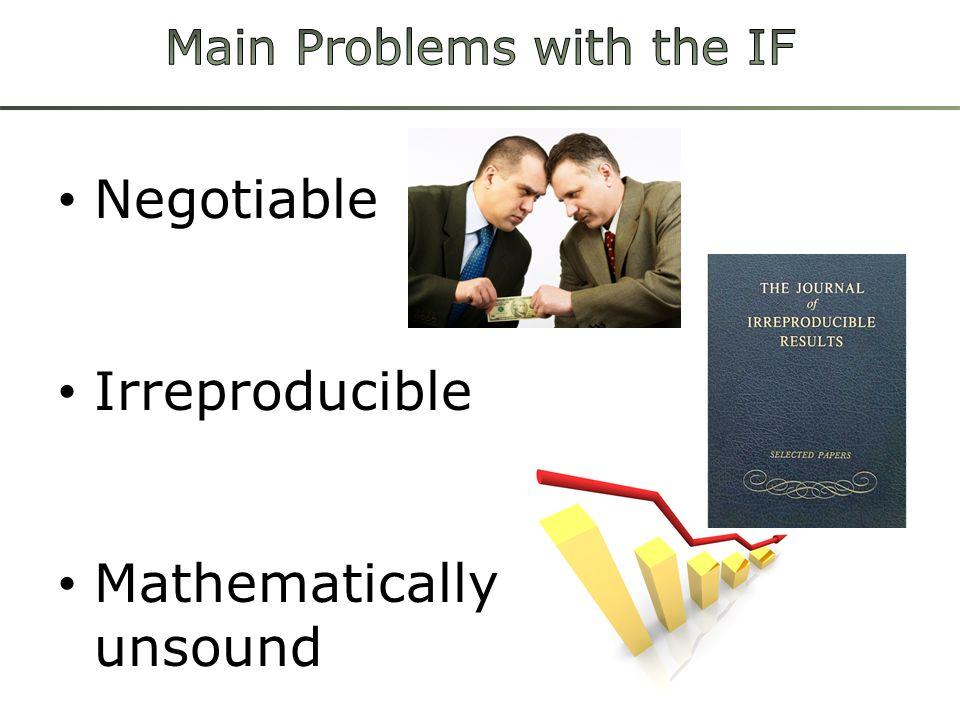 Negotiable Irreproducible Mathematically unsound