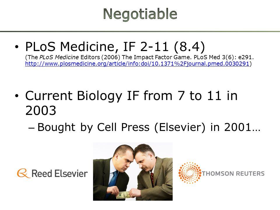 PLoS Medicine, IF 2-11 (8.4) (The PLoS Medicine Editors (2006) The Impact Factor Game.