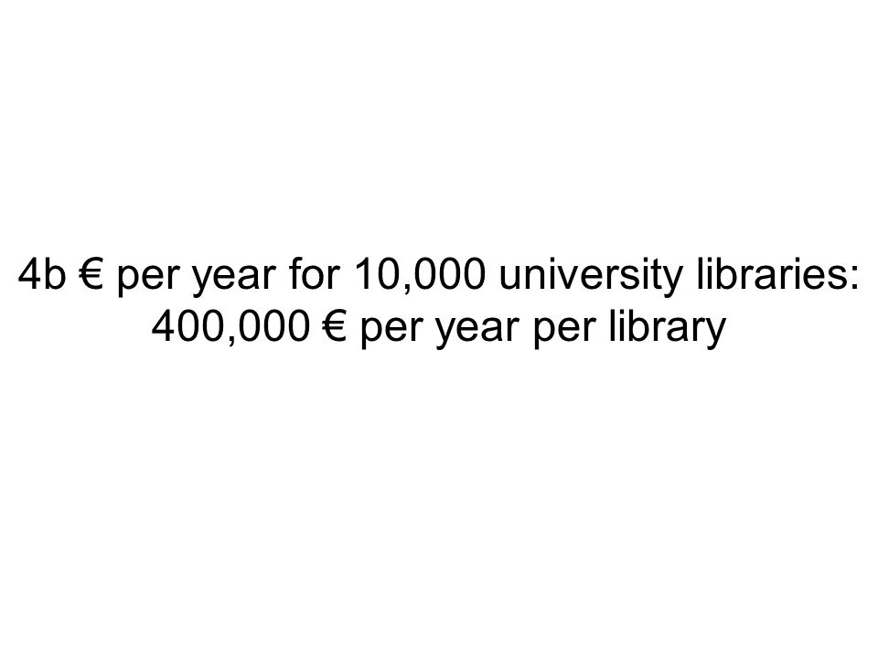 4b € per year for 10,000 university libraries: 400,000 € per year per library