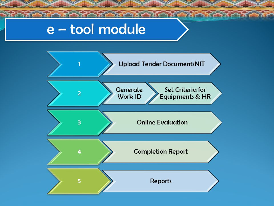 1 Upload Tender Document/NIT 2 Generate Work ID Set Criteria for Equipments & HR 3 Online Evaluation 4 Completion Report 5 Reports e – tool module