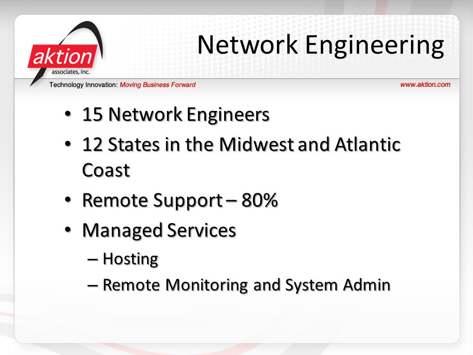Network Engineering 15 Network Engineers 15 Network Engineers 12 States in the Midwest and Atlantic Coast 12 States in the Midwest and Atlantic Coast