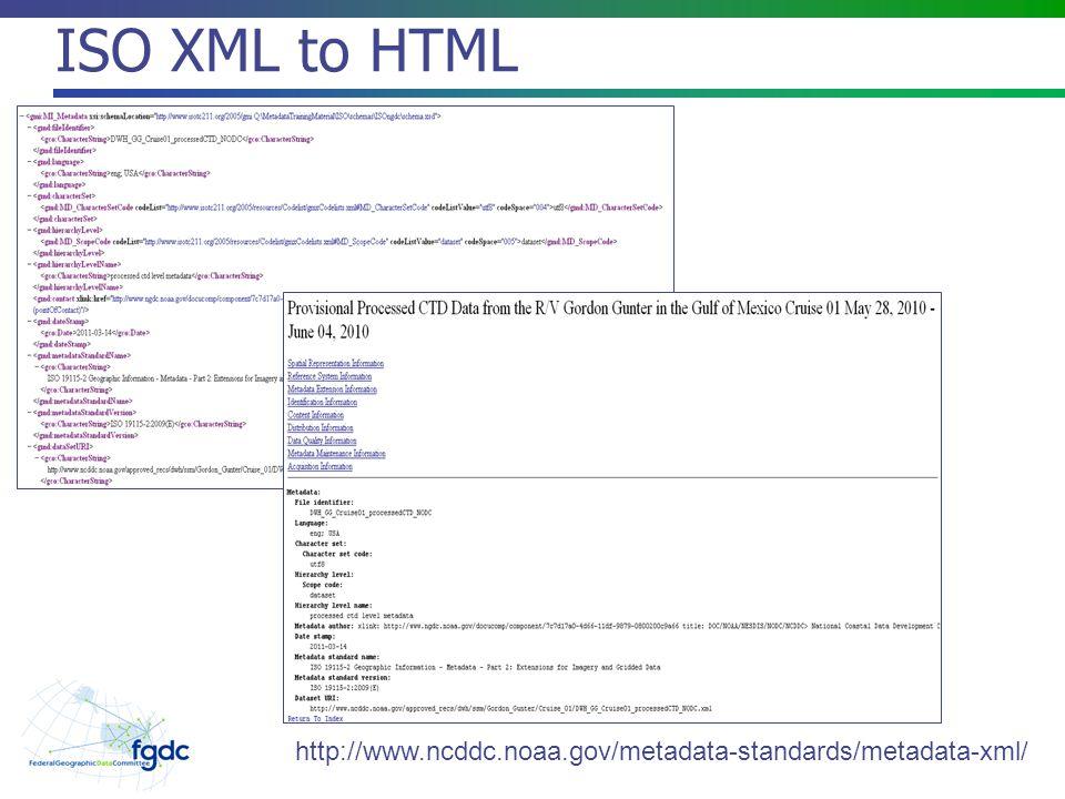 ISO XML to HTML http://www.ncddc.noaa.gov/metadata-standards/metadata-xml/